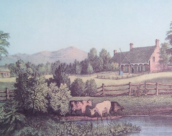 Vintage art print by Currier and Ives, An American Farm Scene with cows, farmhouse, trees, mountains.