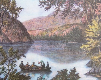 Vintage Currier and Ives art print. Canoeing on Echo Lake, White Mountains.