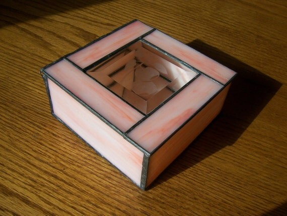 Jewelry box gift idea. Pink and clear beveled glass features fruit etching and assembled like a stained glass window.