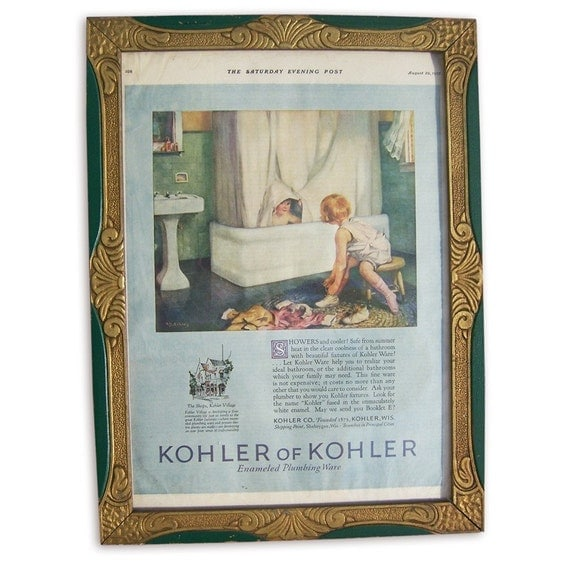 Vintage Art Deco frame with Saturday Evening Post advertisement for Enameled Plumbing Ware in  blue, green and white.