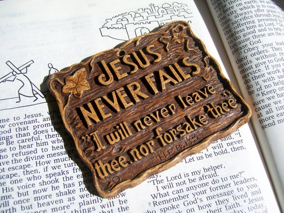 Jesus Never Fails Wall Plaque Christian Home Decor And Gift