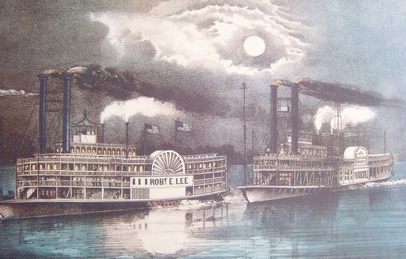 Full moon, river boat, blue, gray night scene picture. Framable Currier and Ives art print titled The Great Mississippi Steamboat Race.