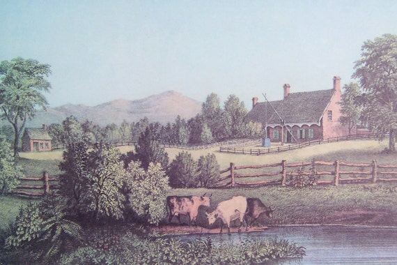 Vintage Art Print By Currier And Ives An American Farm Scene