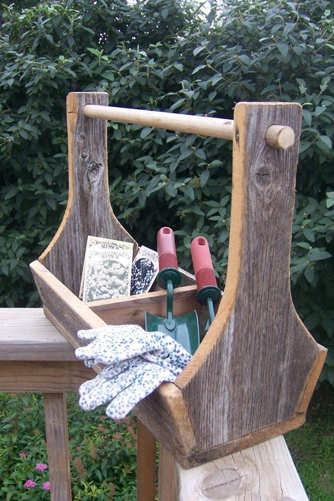 Handmade Vintage Barn Wood Garden Tool Tote Box Useful To