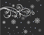 Snowflake Snow Storm Window or Wall Decal Christmas Decoration