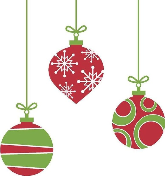 Christmas ornaments wall decals