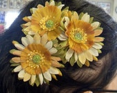 Adorable Green Tan and Yellow Flower Hair Clips x3