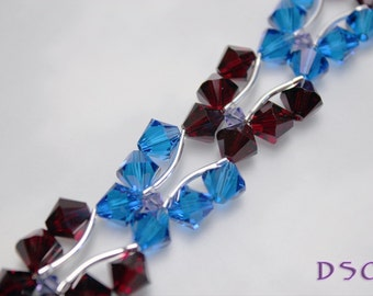 Red and Blue Swarovski Butterfly Bracelet Crystal Stitched Capri Blue and Siam Bicones