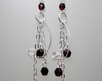 Flat Oval Sterling Silver Chain and Red Crystal Earrings
