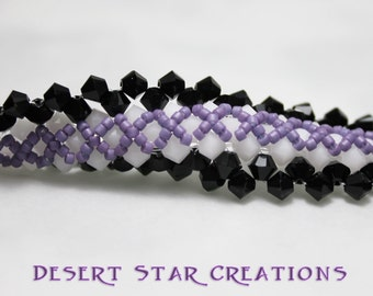 Hand Stitched Bracelet Black and White Hugs and Purple Kisses