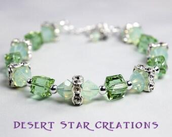 Crystal Tennis Bracelet Erinite Green and Chrysolite Opal Swarovski and Sterling Silver
