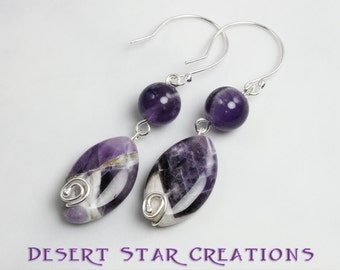 Purple Amethyst Gemstone Drop Earrings Sterling Silver and Chevron Accented