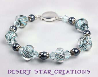 Blue and Gray Glass Bead and Pearl Bracelet