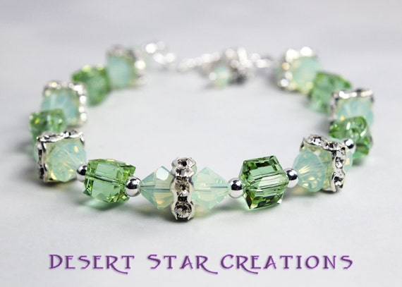 Crystal Tennis Bracelet Erinite Green and Chrysolite Opal Swarovski and Sterling Silver