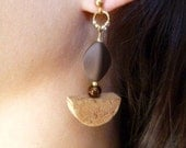 Half Moon Wine Cork Post Earrings