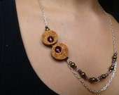 SALE Recession Reduction Prices -  Asymmetrical Walk through the Wild flowers Wine Cork Necklace