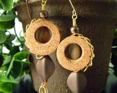 Chain Wrapped Wine Cork Earrings