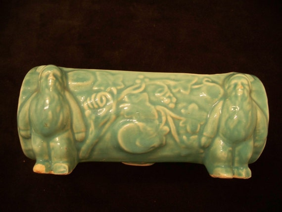 Vintage turquoise planter, 2 elves carrying a log