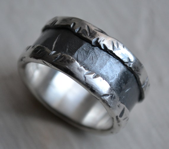 mens wedding band - fine silver and sterling silver ring - handmade artisan designed wedding or engagement band - customized