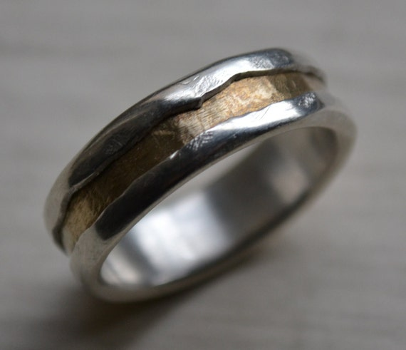rustic fine silver and brass ring - handmade texturized and hammered artisan designed wedding or engagement band - customized