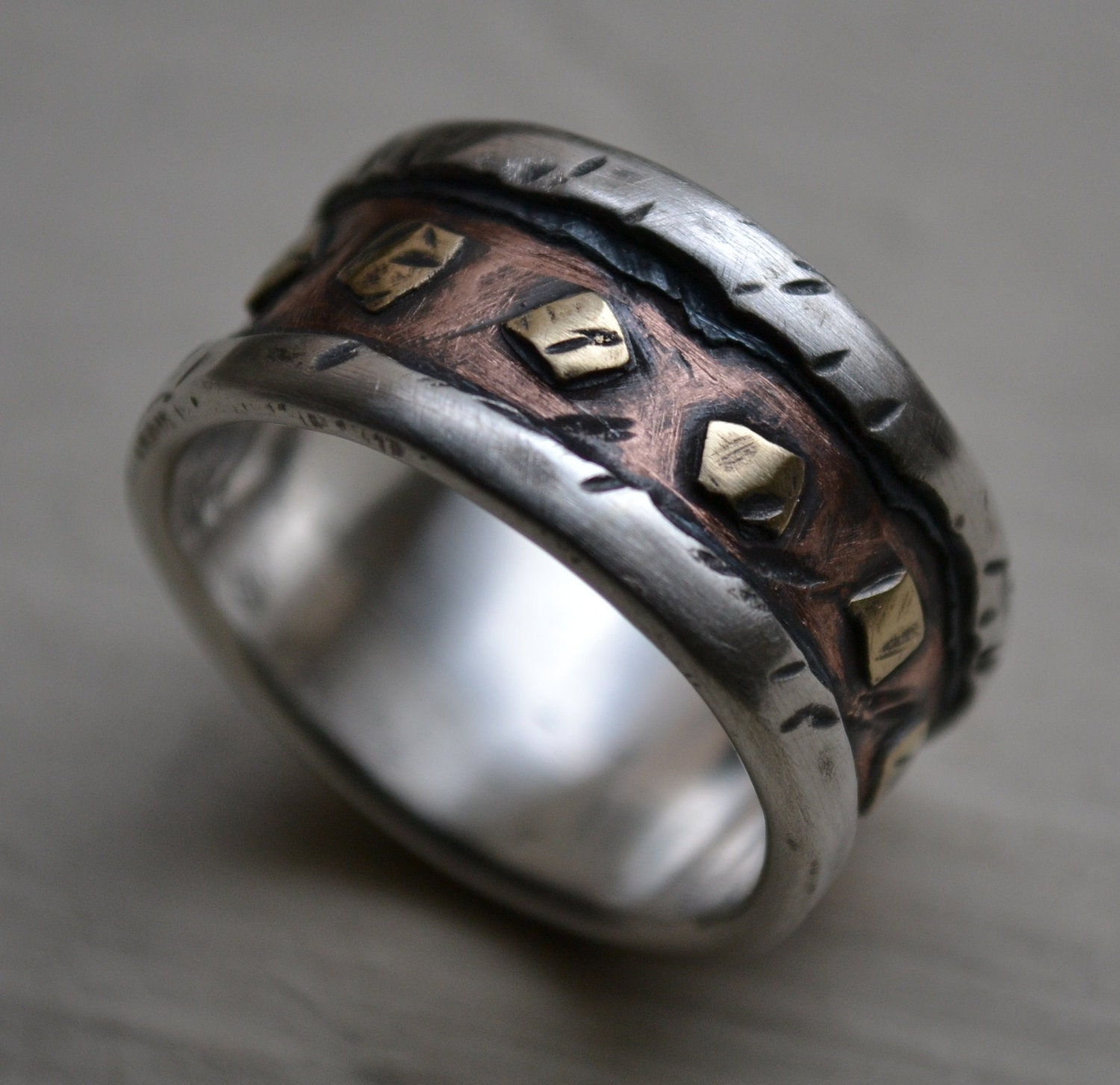 Mens Wedding Band Rustic Fine Silver Copper And By