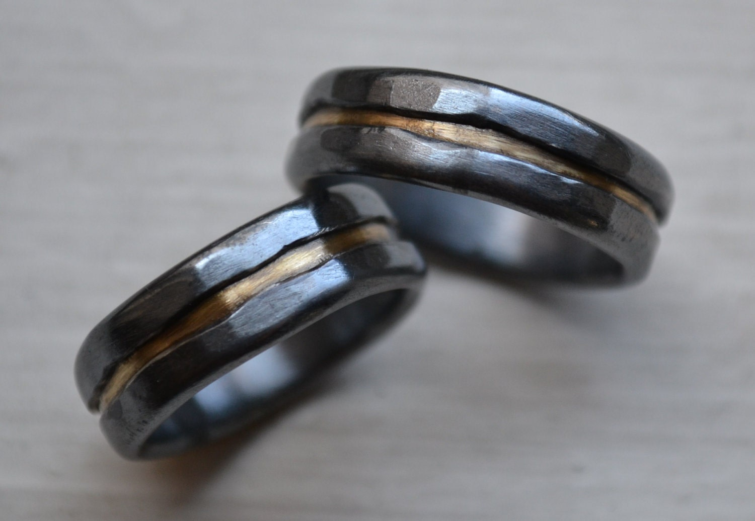 Silver And Brass Wedding Band Set Artisan By MaggiDesigns On Etsy