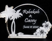 Tropical Beach with Hibiscus Wedding Cake Topper  -  Engraved - Light OPTION