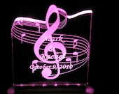 Music Wedding/Birthday Cake Topper -  Personalized - Acrylic  - Light OPTION