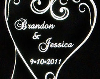 Filagree Heart Wedding Cake Topper - Personalized - Light OPTION