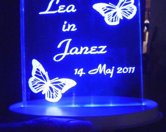Two Butterflys Square Wedding Cake Topper... Engraved Personalized - Light OPTION