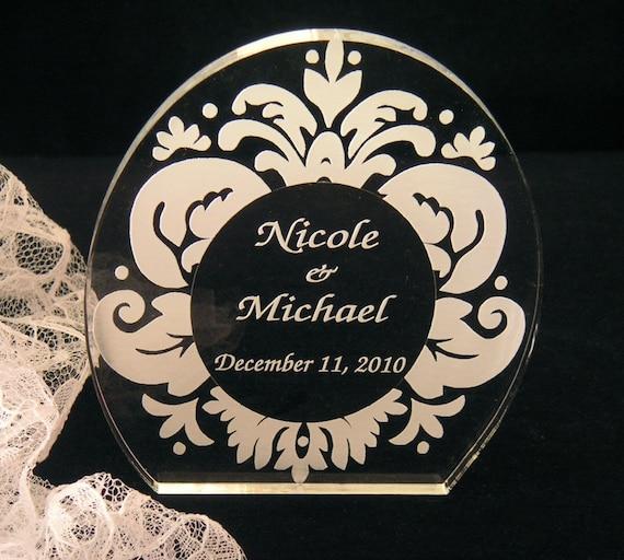 Damask Wedding Cake Topper - Engraved & Personalized