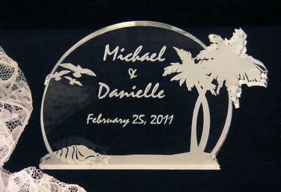 Beach Tropical Wedding Cake Topper - Engraved - Light OPTION