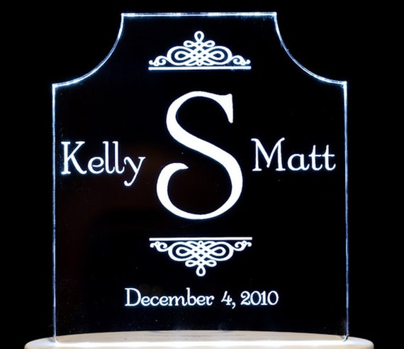 Monogram Initial Wedding Topper  - Engraved Personalized