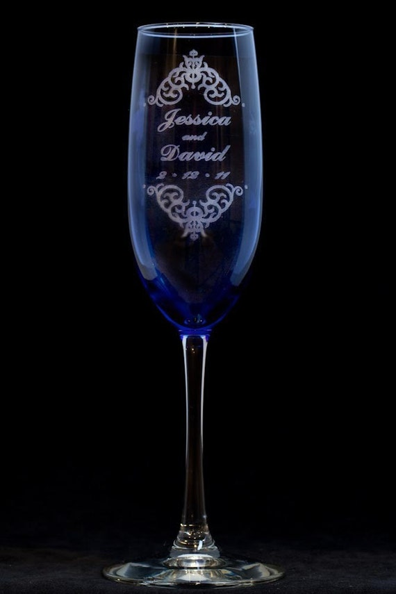 Toasting Champagne Flutes - Vintage  - SET of 2 - Personalized