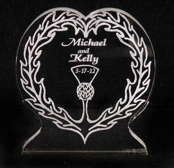 Scottish Thistle Wedding Cake Topper - Personalized