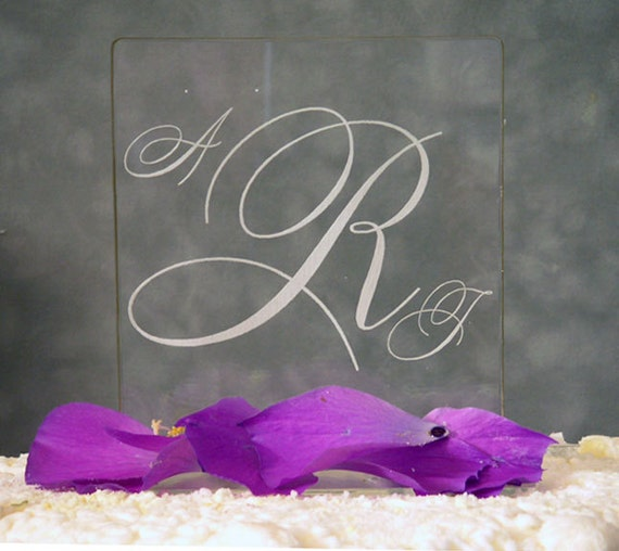 Romance Monogram Wedding Cake Topper - Acrylic - Personalized - Light OPTION