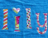 Beach Towel--Bath Towel--Pool Towel with custom personalized name applique --Great Gifts