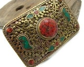 SALE Belt Buckle, Turquoise and Coral Belt Buckle, Nepal Jewelry
