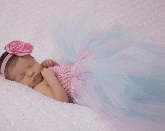 Light Pink/ Blue Tutu Dress, With Free matching Headband- Tutu Dress- Baby Tutu- Infant Tutu- Newborn Tutu- Available In Sizes 0- 24 Months.