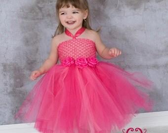 Pink Tutu Dress- Tutu Dress- Toddler Tutu- Baby Tutu- Flower Girl Dress. Available In Size 0- 24 Months.