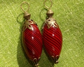 Reserved For Sara...Fabulous Red Blown Glass Beads (2) With Bali Style Filigree & Beautiful Red Colors...