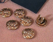 0086  Six Gold Tone Poinsettia Button Covers
