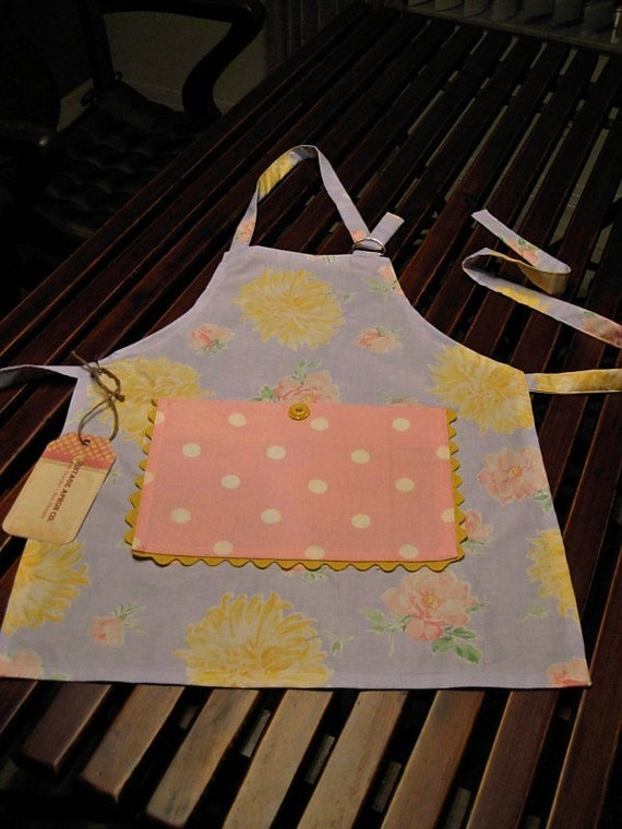 Child's Apron, Sweetie Pie, pink polka dots