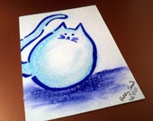 Fluff Egg - Original ACEO Pastel and Pen Drawing