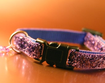 Light Purple Glitter Breakaway Cat Collar wIth Fish Charm