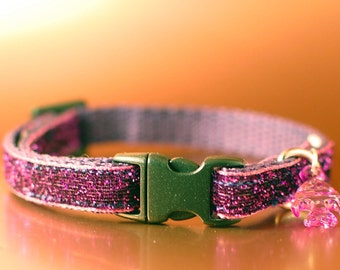 Purple Glitter Breakaway Cat Collar wIth Fish Charm