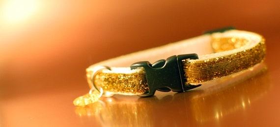 Gold Glitter Breakaway Cat Collar wIth Fish Charm