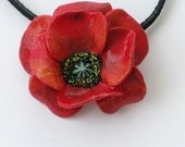 Poppy Flower Polymer Clay Pendant