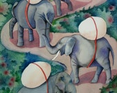 Greeting Card with Elephants