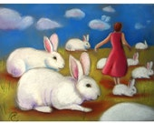 Greeting Card with Rabbits